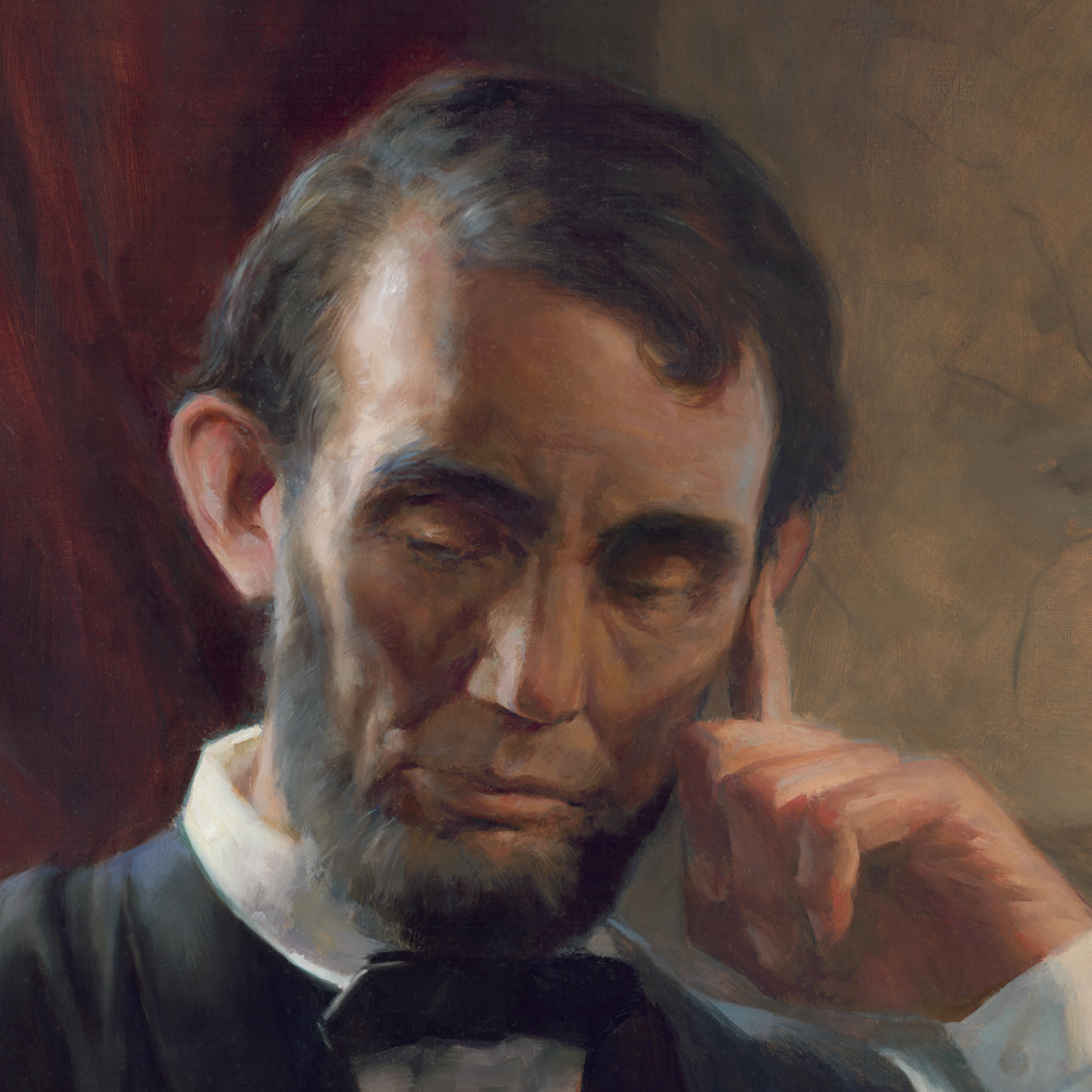 my hope for this painting was convey the weight and sadness lincoln must have felt as president of a war torn nation and the hope he would inspire with his