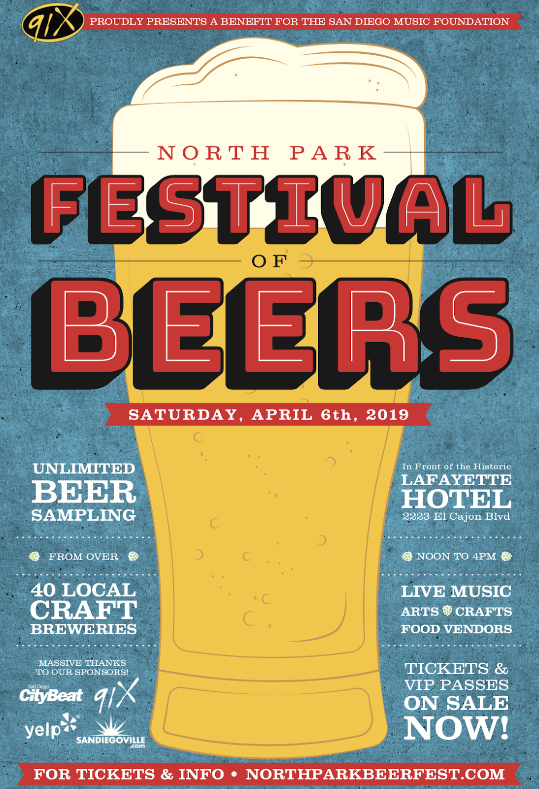 Save on passes & Enter to win VIP tickets to the North Park Festival of Beers - April 6!
