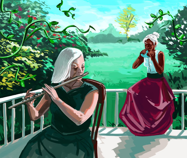 Two femme-appearing people playing instruments on a porch surrounded by greenery.