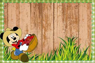 Para hacer invitaciones, tarjetas, marcos de fotos o etiquetas, para imprimir gratis de Mickey Granjero