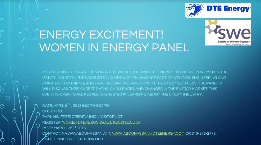 SWE Detroit: ENERGY EXCITEMENT! WOMEN IN ENERGY PANEL