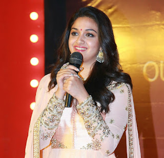 Keerthy Suresh in Rose Color Dress with Cute and Awesome Lovely Smile at Mahanati Success Meet