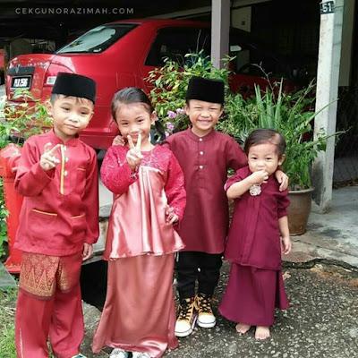 raya 2018, #inikanraya, ootd raya, tema maroon purple, baju raya tema maroon, sepupu di hari raya, gaya bersama sepupu
