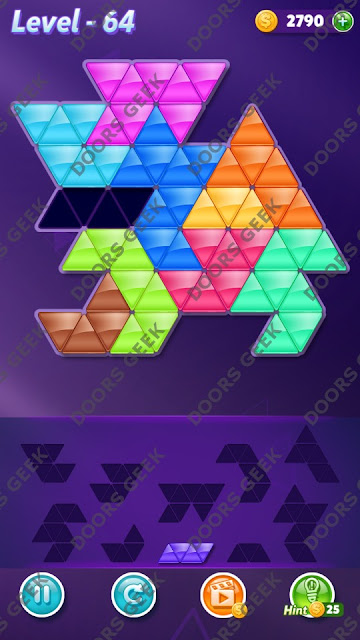 Block! Triangle Puzzle 10 Mania Level 64 Solution, Cheats, Walkthrough for Android, iPhone, iPad and iPod