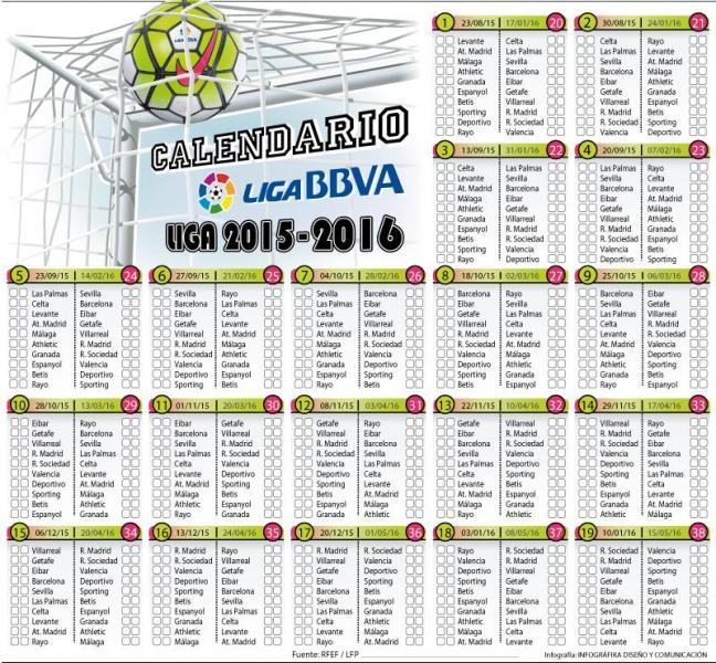 Calendario De Liga Bbva 15 16.Anotando Futbol Calendario Futbolero 2016
