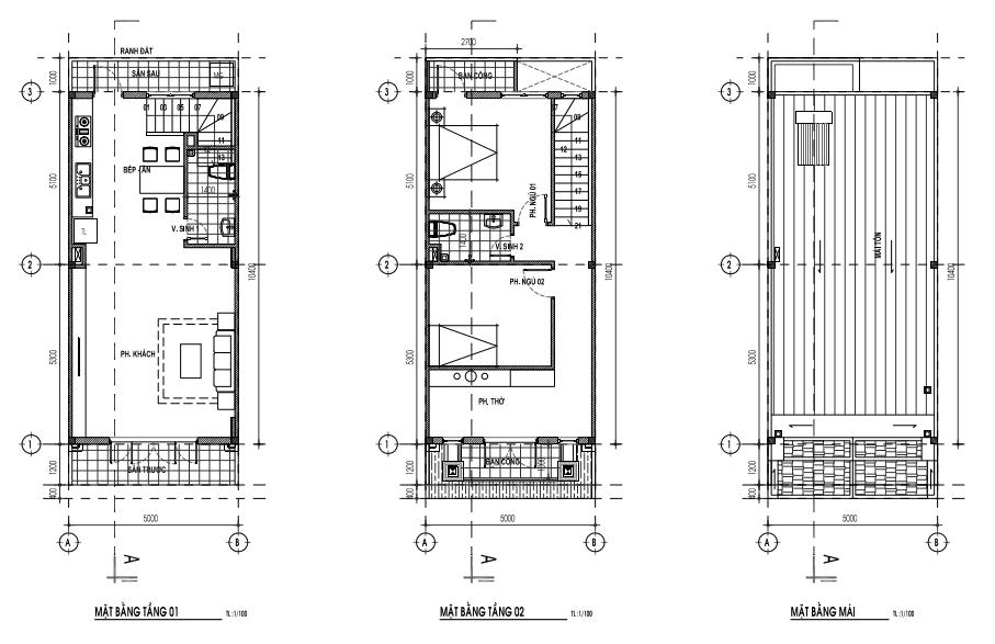 Mẫu nhà 5 x 13m - 1 trệt, 1lầu