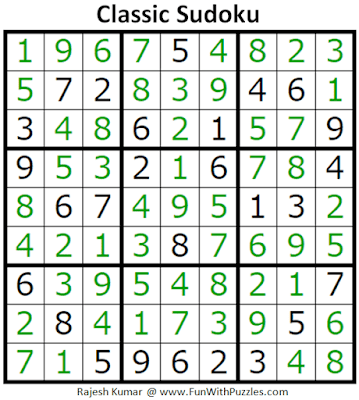 Answer of Classic Sudoku Puzzles (Fun With Sudoku #297)
