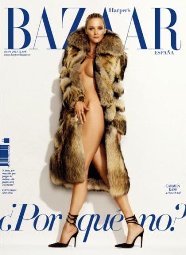Carmen Kass Desnuda Y Con Pieles En Portada De Harper S Bazaar España