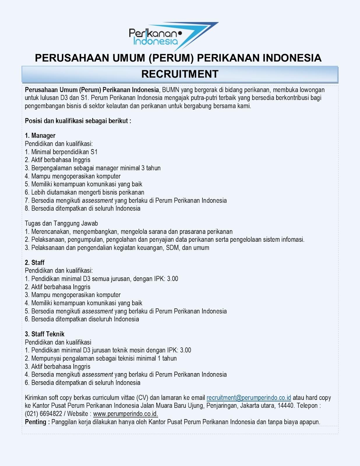 Lowongan Kerja Perusahaan Umum Perikanan Indonesia (Perum Perindo)