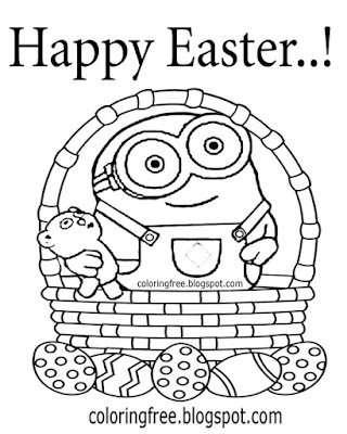 Pretty teddy bear baby minions drawing Easter chocolate egg basket coloring book pages for teenagers