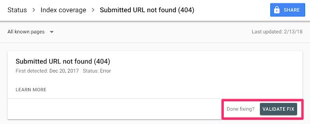 Index Coverage - Submit URL