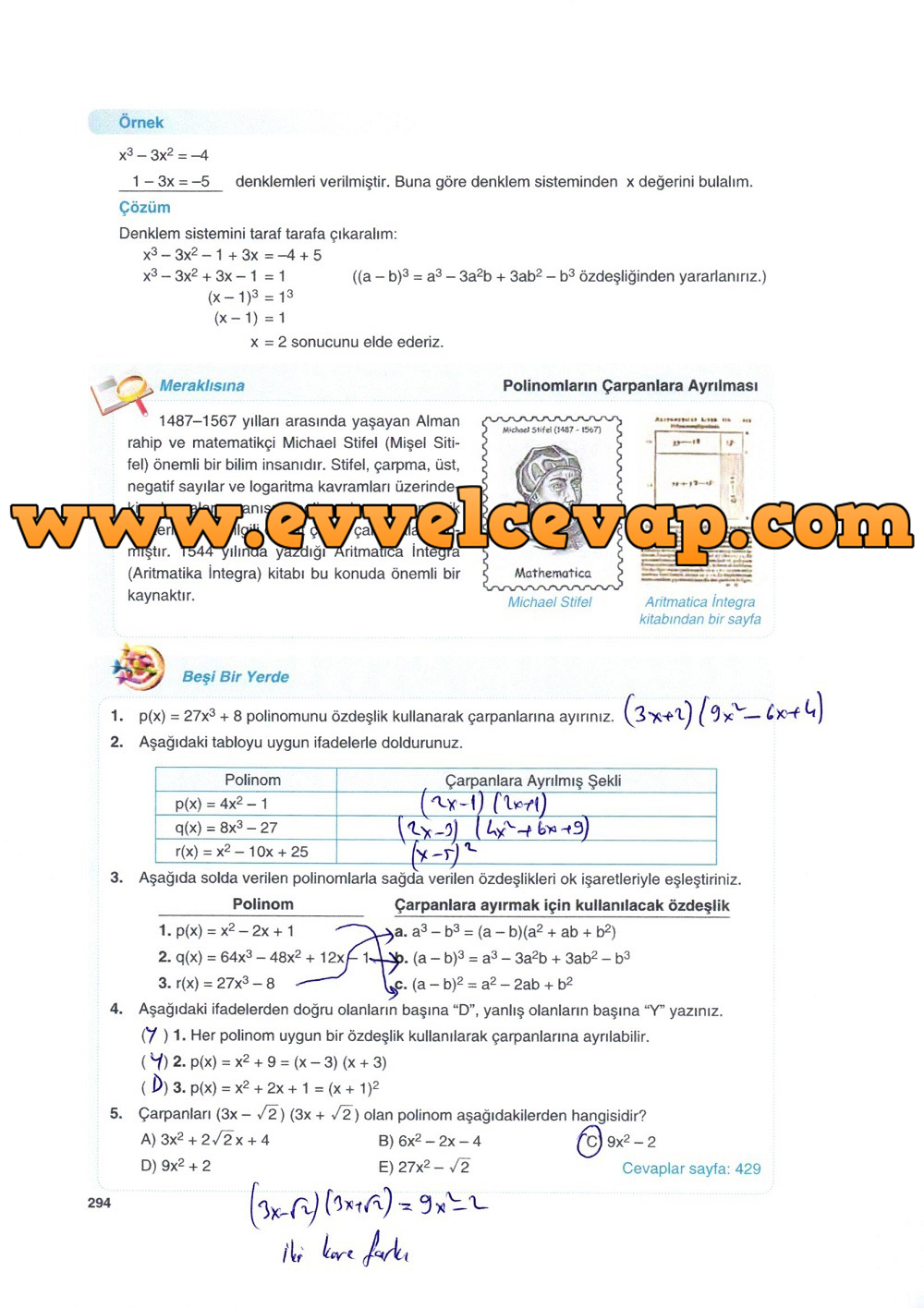 10. Sınıf Matematik Tuna Yayınları Ders Kitabı 294. Sayfa Çözümleri