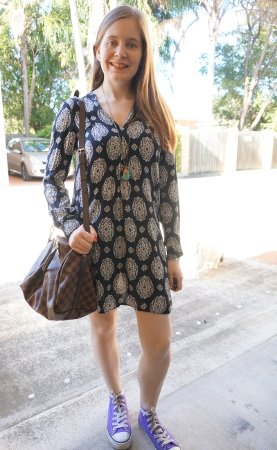 zara navy tunic printed dress with louis vuitton speedy bandouliere bag Converse high tops | awayfromblue