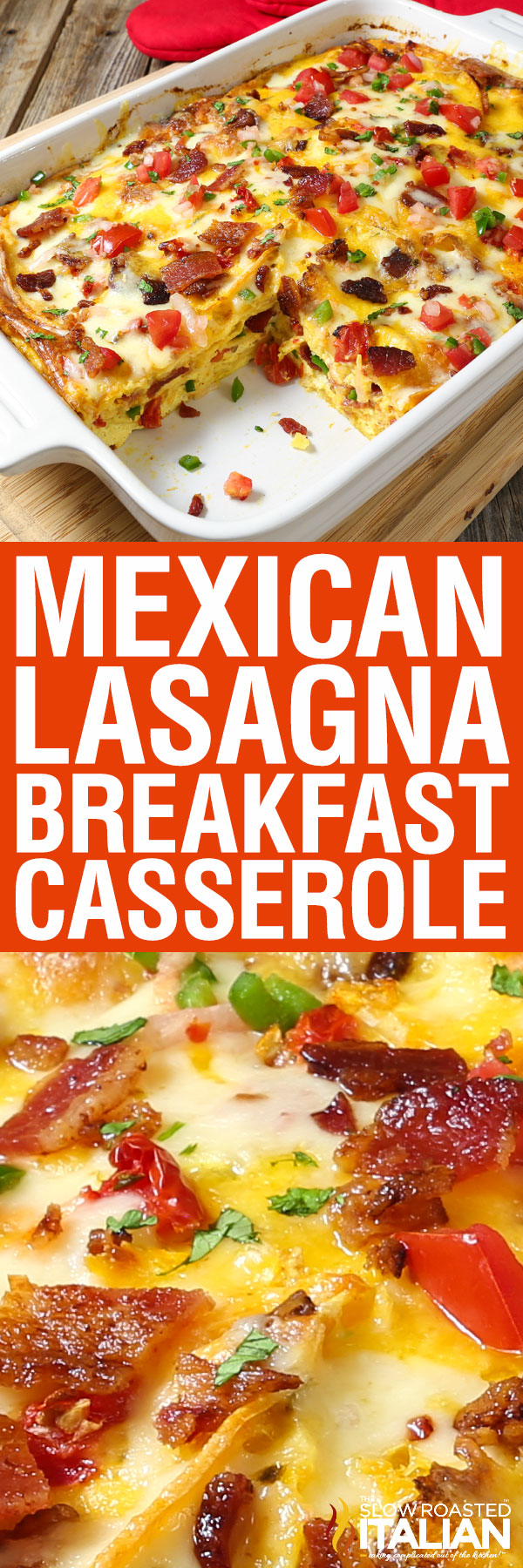titled image (and shown): Mexican Lasagna Breakfast Casserole