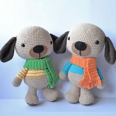 Вязаные игрушки щенки амигуруми крючком