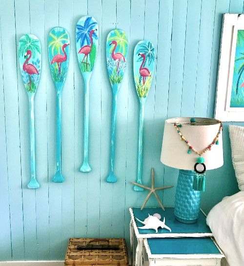 Painted Oars Tropical Theme Wall Decor Idea