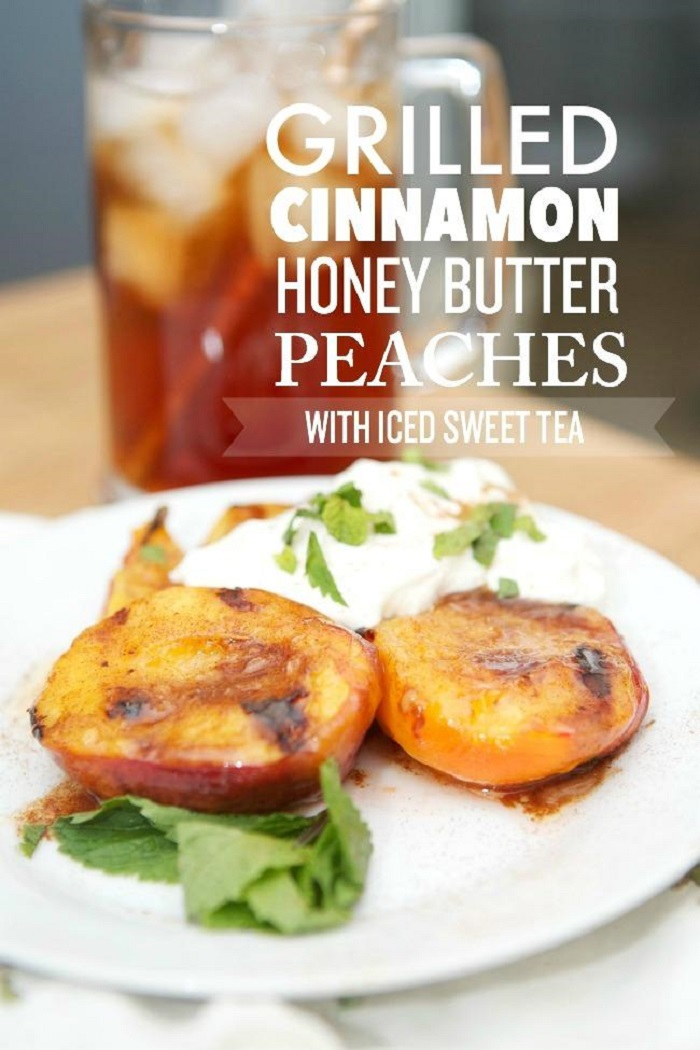Grilled Cinnamon Honey Butter Peaches with Iced Sweet Tea