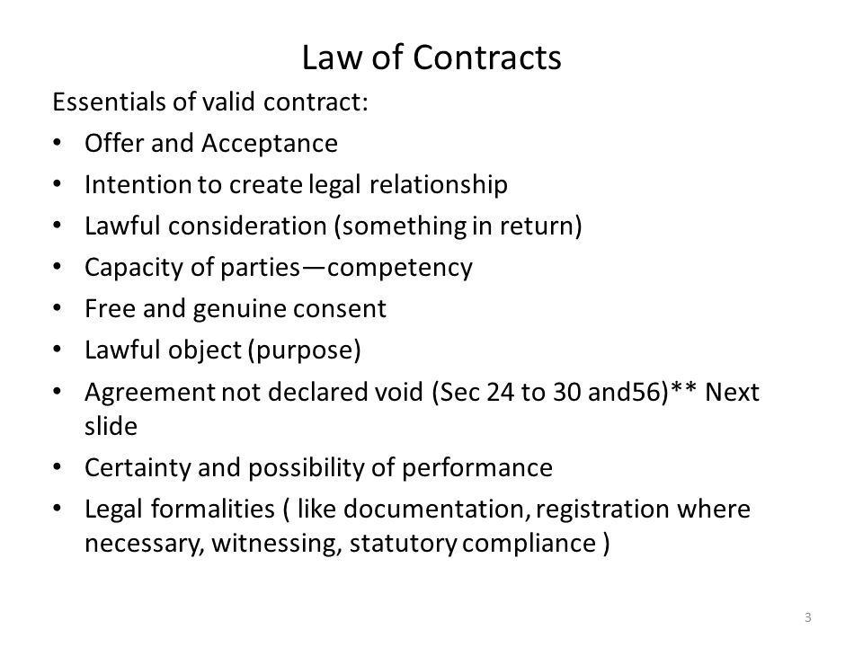 Bbs 3Rd Years Notes: Essentials Of Valid Contract