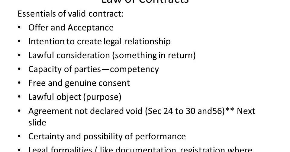 Bbs 3rd Years Notes Essentials Of Valid Contract