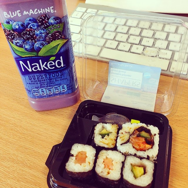 sushi and naked superfood smoothie