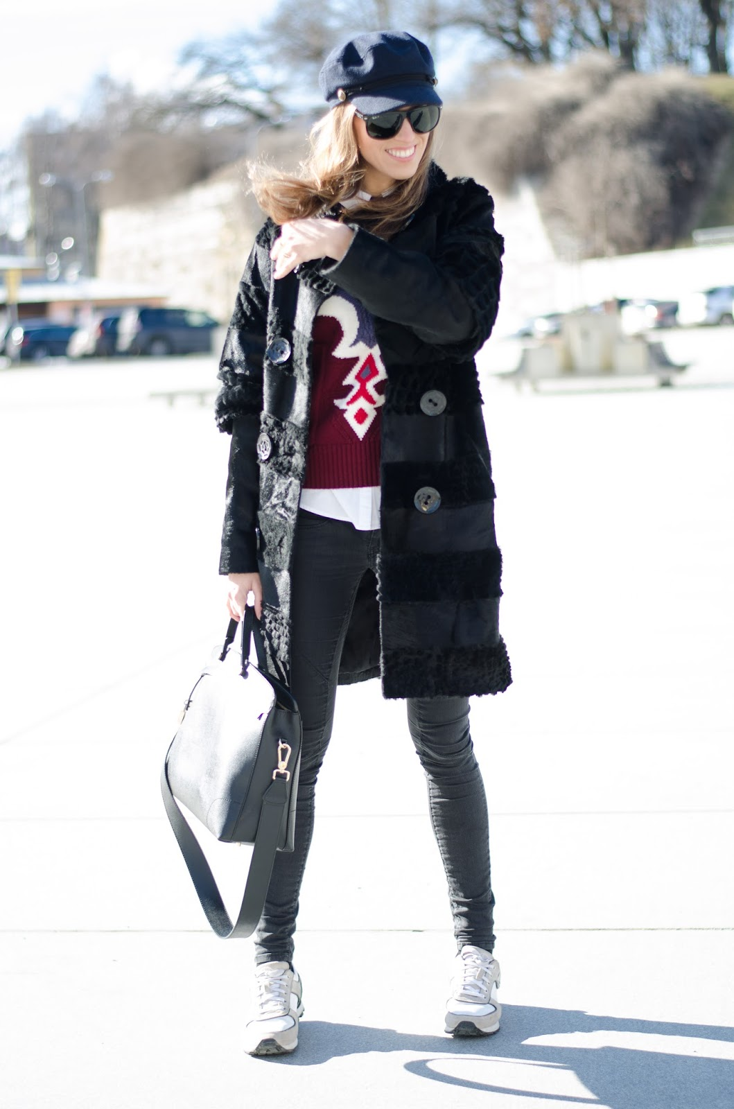 kristjaana mereblack fur coat cap sneakers spring fashion