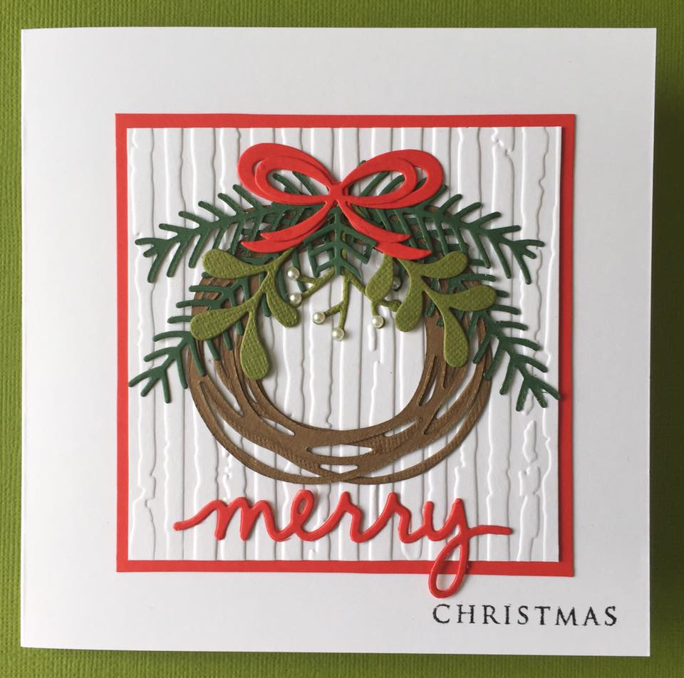 to finish i stamped the word christmas using papertrey ink wreath for all seasons christmas sentiment - Horseshoe Christmas Wreath
