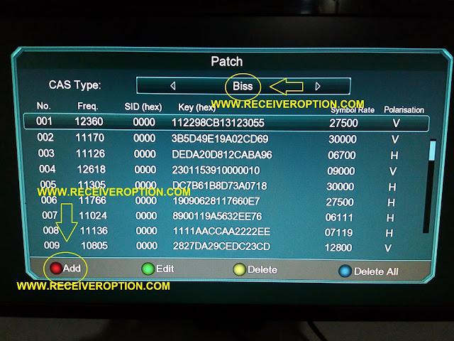 NEWSAT O2 PLUS HD RECEIVER BISS KEY OPTION