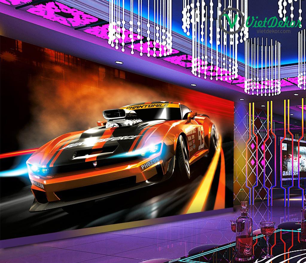 Tranh 3d dán tường ô tô trang sức