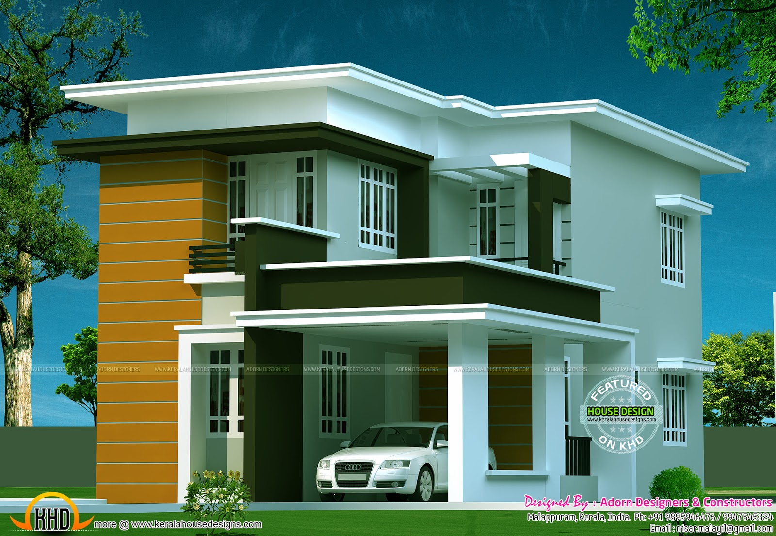 New flat roof house kerala home design and floor plans for Modern flat design