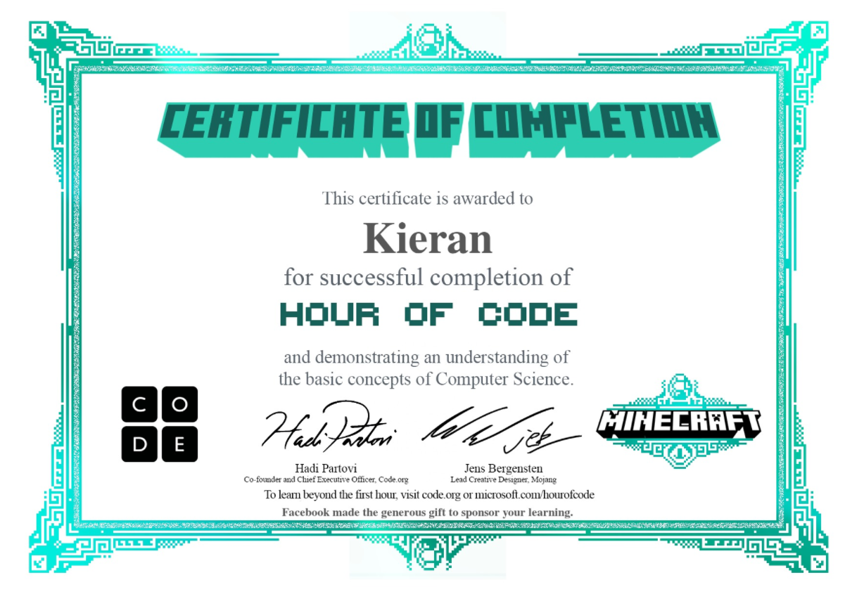 Kieran Game Design Portfolio: Minecraft Designer You are the