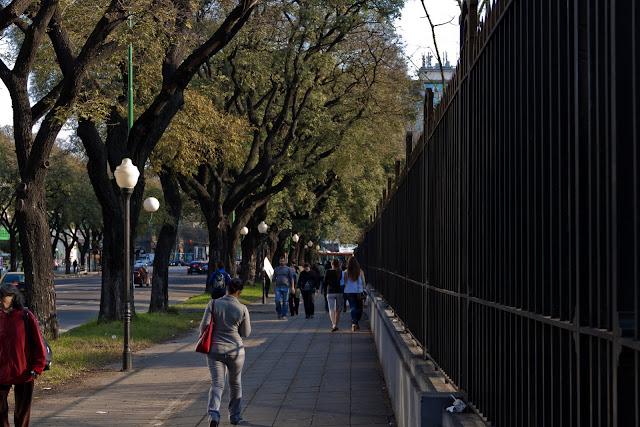 Gente caminando en vereda arbolada