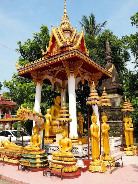 Gold Buddha statues around Wat Sisaket, Vientiane, Laos