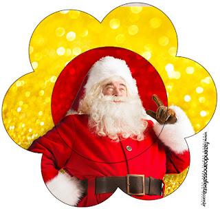 Tarjeta con forma de flor de Santa Claus en Rojo y Dorad