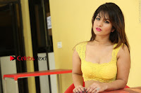 Cute Telugu Actress Shunaya Solanki High Definition Spicy Pos in Yellow Top and Skirt  0571.JPG