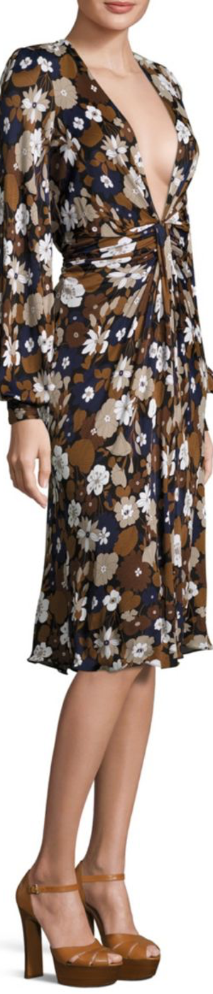 Michael Kors Collection Floral Deep V-Neck Dress