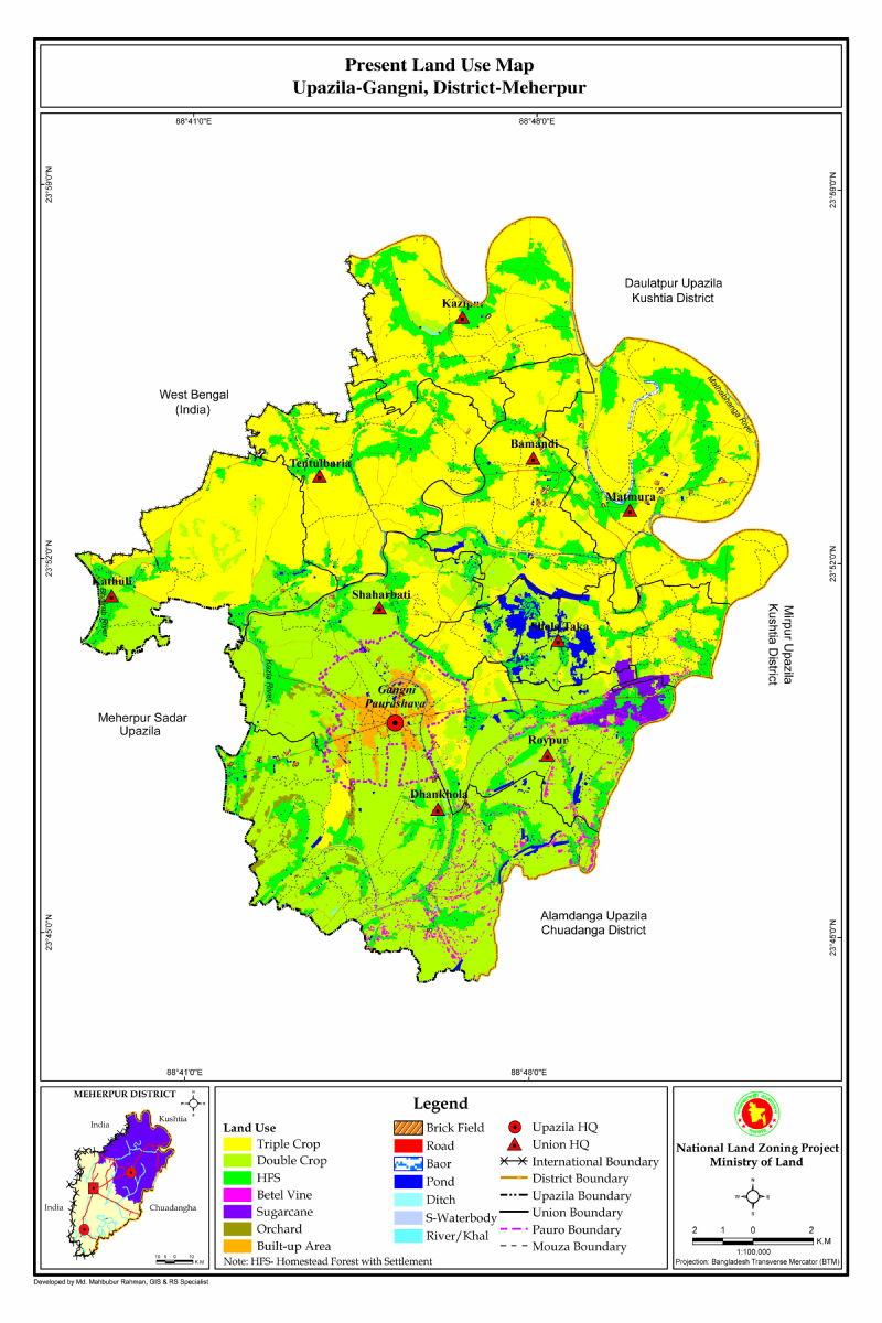 Gangni Upazila Mouza Map Meherpur District Bangladesh
