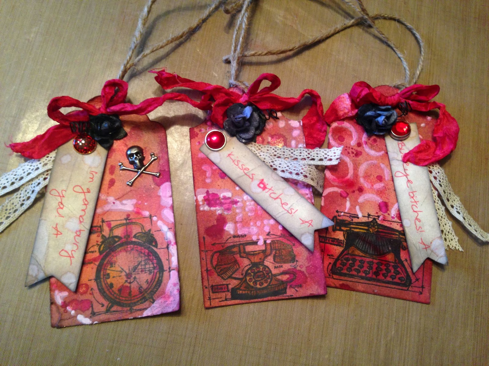 tags, tag, handmade, custom, scrapbooking, Pretty Little Liars, party, celebration, gift, Big A, PLL, vintage, crinkle ribbon, lace, Tim Holtz, twine, flowers, color mists, Color Lab, Marion Smith Designs, distress ink, stamping, banner, pennant, brads, gesso