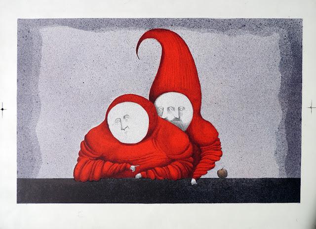 Fernando Pereznieto litografía surrealista monjes acoso