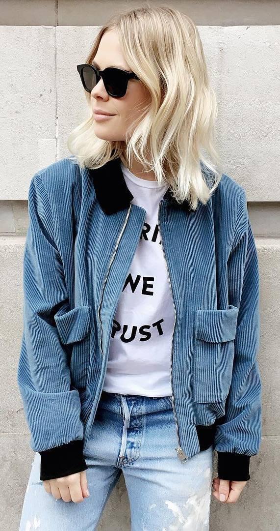 velvet bomber + top + jeans