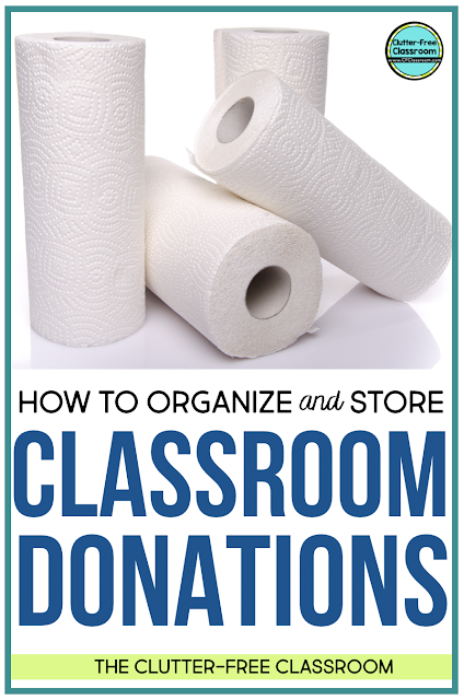 Classroom donations like paper towels, tissues, wipes, pencils, crayons, and glue sticks are so wonderful! Have you found a cheap storage solution for them? Read to find out my classroom organization strategies and tips here.