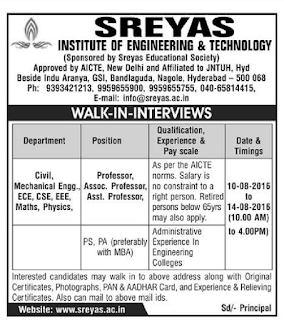 Sreyas Institute Of Engineering And Technology Wanted