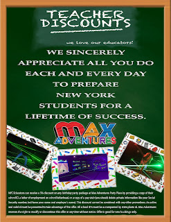 teacher discount from Max Adventures Party Place
