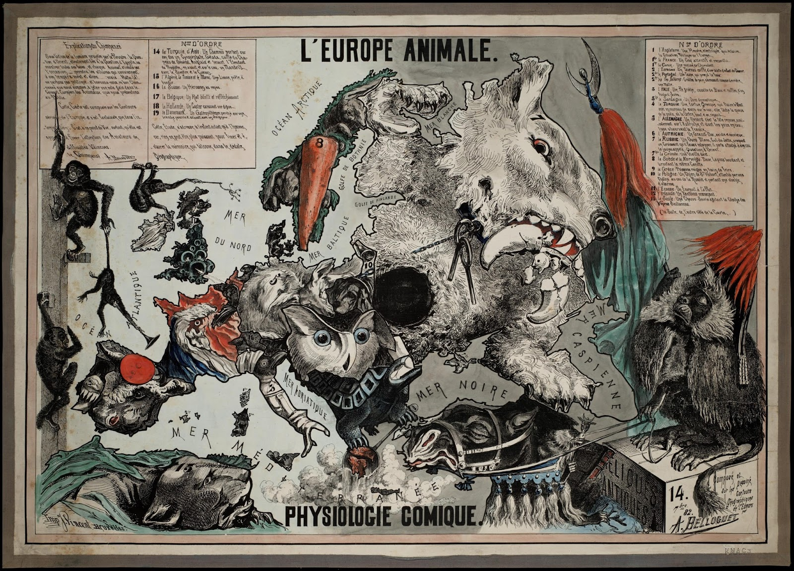 The European Animal, a satirical map made by Belloquet