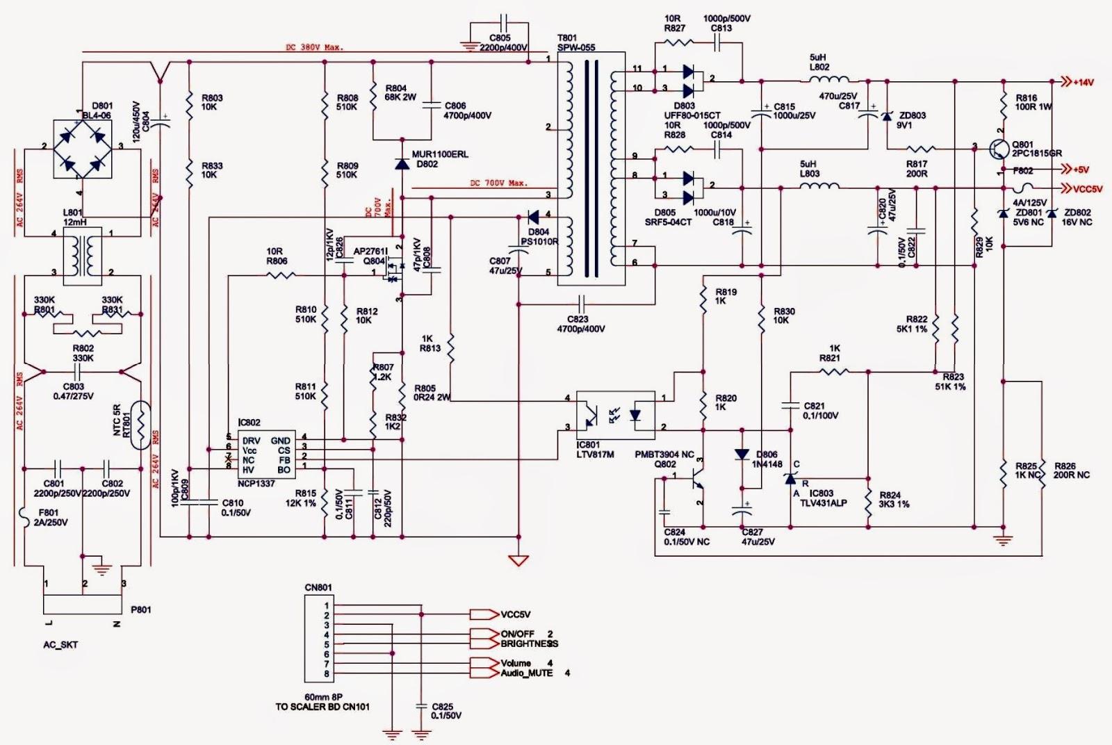 service adjustments main power smps schematic circuit diagram