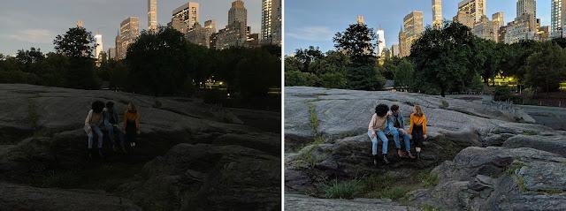Der Vergleich von zwei Fotos bei verschiedenen Lichtverhältnissen. Auf dem Bild sitzen Menschen in einem Park.