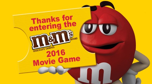 M&M's wants you to go to the movies ON THEM! Enter their text to win game daily for a chance to win free movie gift cards and free movie house concessions for goodies at the theater, too!