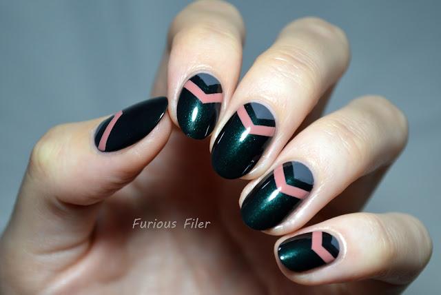 hj manicure nails single chevron autumn