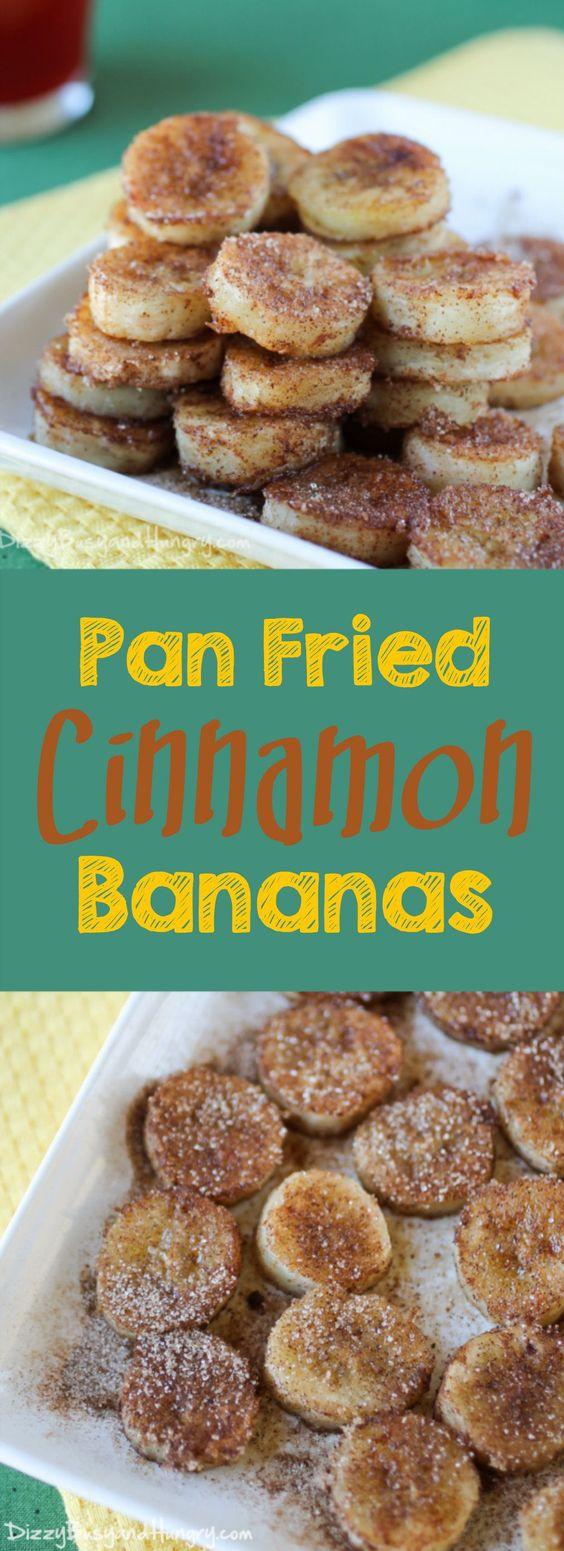 PAN FRIED CINNAMON BANANAS #pan #fried #cinnamon #banana #healthysnack #healthysnackideas #healthyfood #healthyrecipes