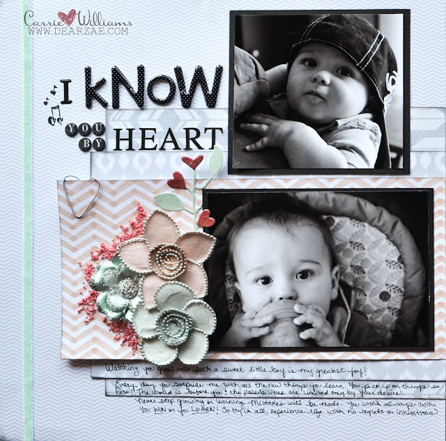 Scrapbook layout with chevron papers, heart embellishments, two photos, thickers, and journaling - done in grey, peach pink, and sage green with pops of red.