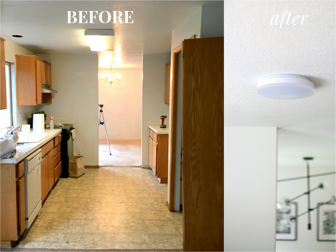replace fluorescent light fixture in kitchen mid century chairs how to a with an led flush mount